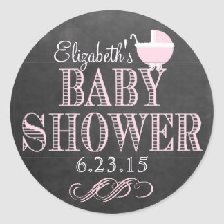 Typography Chalkboard Pink Carriage Baby Shower Classic Round Sticker