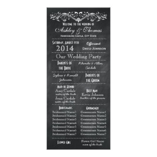 Typography Chalkboard Wedding Programs 2 Maids Hon Customized Rack Card