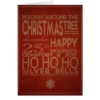 typography christmas card in red