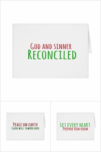 Typography Christmas Card Set of Four