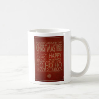 typography christmas mug in red