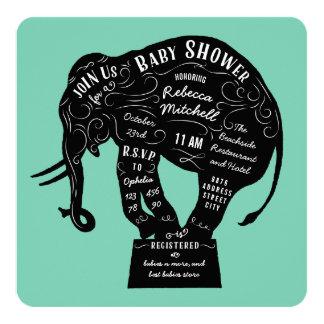 Typography Circus Elephant Baby Shower Invitation