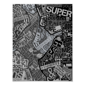 Typography Collage Black & White Newspaper Print