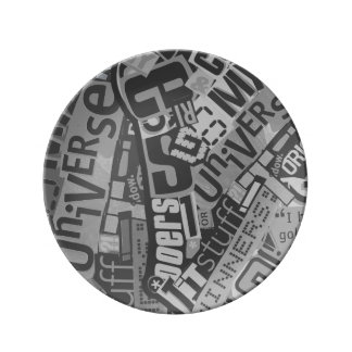 Typography Collage Tabloid Newspaper Clippings Porcelain Plate