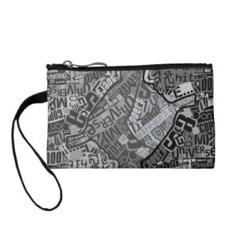 Typography Collage Tabloid Newspaper Print Change Purse