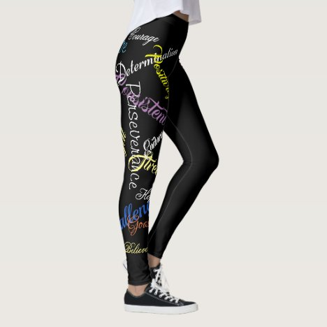 Typography Colorful Words Of Motivation Leggings