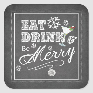 Typography Eat Drink Merry Christmas Holiday Square Sticker