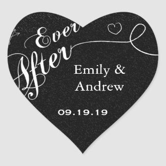 Typography Everafter Chalkboard Black Wedding Seal