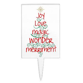 Typography Festive Whimsical Fun Christmas Tree Cake Topper