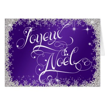 Typography French Joyeux Noël Royal Purple Card