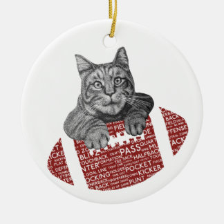 Typography funny American football Cat Double-Sided Ceramic Round Christmas Ornament