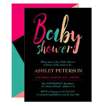 Toddler & Baby themed Typography geometric color block baby shower card