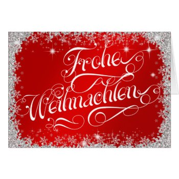 Typography German Frohe Weihnachten Rich Red Card