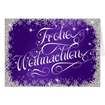Typography German Frohe Weihnachten Royal Purple Card