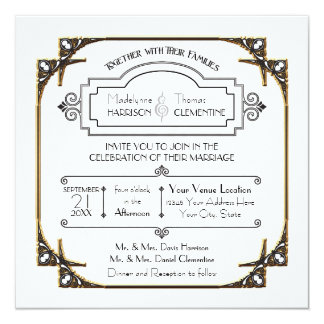 Typography Gold Frame Art Deco Great Gatsby Invite