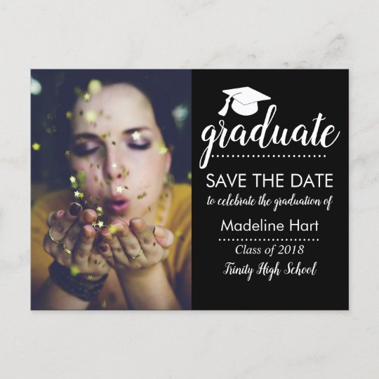 typography graduation party save the date photo announcement