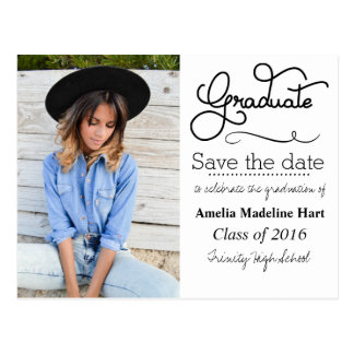 Typography Graduation Party | Save The Date Photo Postcard