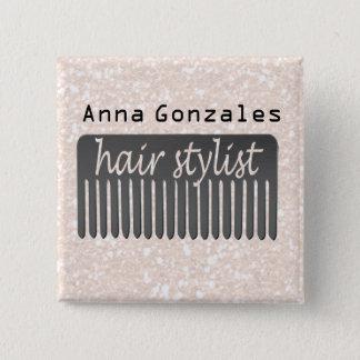 Typography Hair Stylist  Comb Salon Shop Pinback Button
