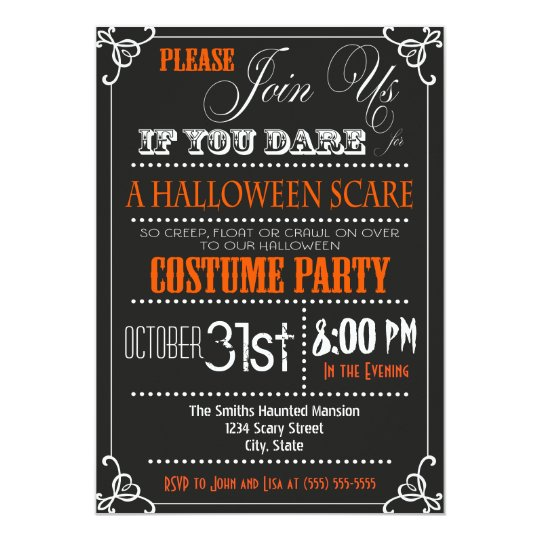 Typography Halloween Party Invitation – Halloween Costume Party Invite