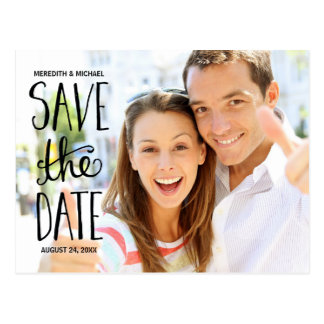 Typography Hand Lettering Photo Save the Date Postcard