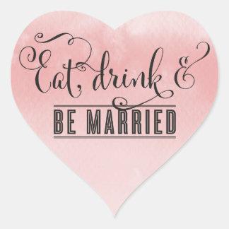 TYPOGRAPHY HEART script eat drink be married text Heart Sticker