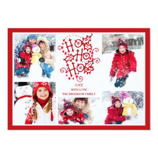 Typography HO HO HO 5 Photo Christmas Holiday Card