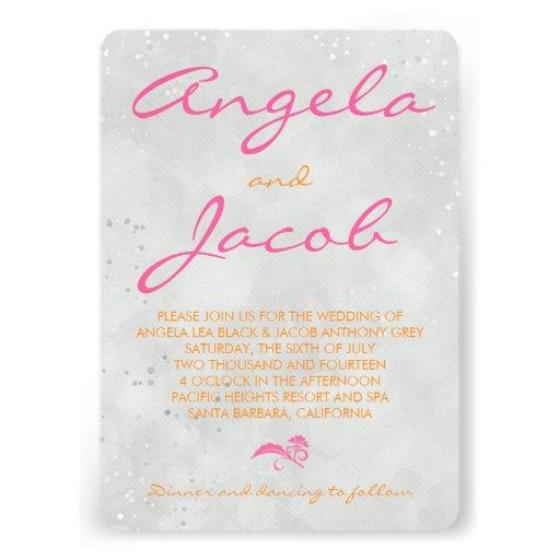 Typography Hot Pink Orange Grey Wedding 5x7 Paper Invitation Card