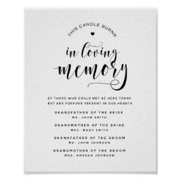 Typography in loving memory wedding sign memorial