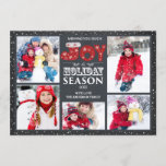 """Typography Joy 5 Photo Christmas Holiday Card<br><div class=""""desc"""">Cute chalkboard wishing you joy holiday christmas collage card with space for 5 photos and red & green typography.  Flip our photo card over for a coordinating back for an extra special touch.</div>"""