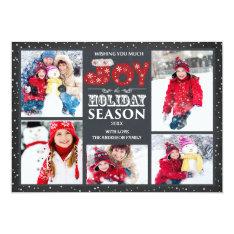 Typography Joy 5 Photo Christmas Holiday Card at Zazzle