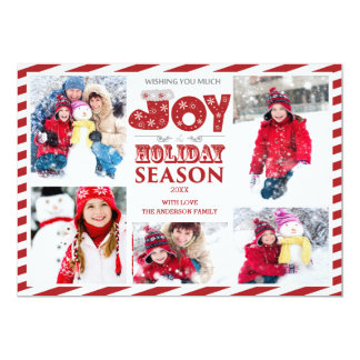 Typography Joy 5 Photo Christmas Holiday Card
