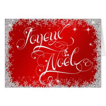 Typography Joyeux Noël Beautiful Red Personalize Card