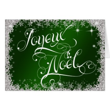 Typography Joyeux Noël Emerald Green Personalize Card