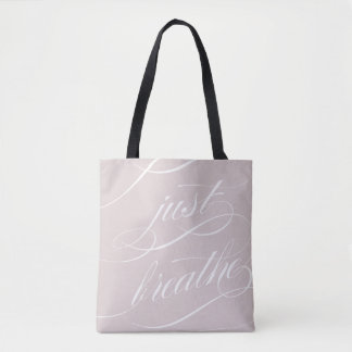 Typography Just Breathe Soft Coral Tote Bag