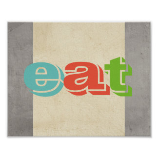 typography kitchen poster eat gray and ecru