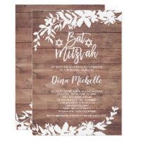 Typography leaf floral rustic wood Bat Mitzvah Card