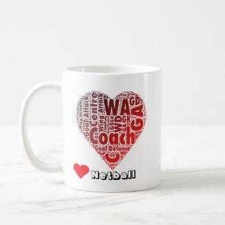 Typography Love Netball Positions and Coach Coffee Mug