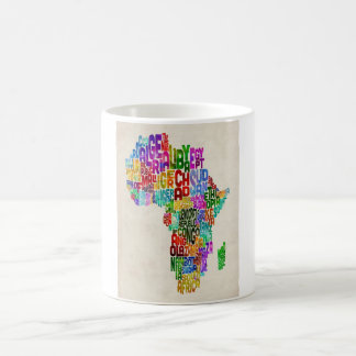 Typography Map of Africa Coffee Mug