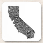 Typography map of California Beverage Coaster