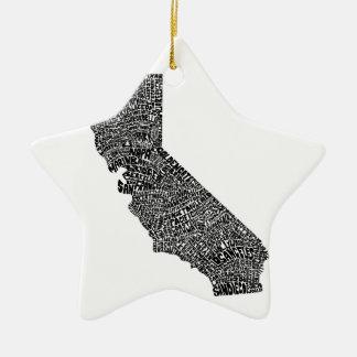 Typography map of California Ceramic Ornament