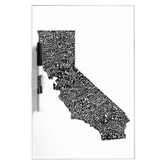Typography map of California Dry Erase Board