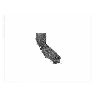 Typography map of California Postcard