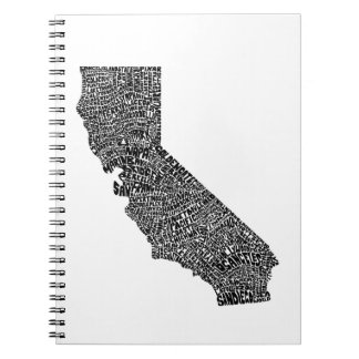Typography map of California Spiral Notebook