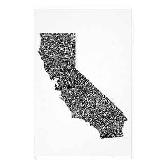 Typography map of California Stationery Design