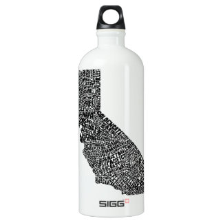 Typography map of California Water Bottle