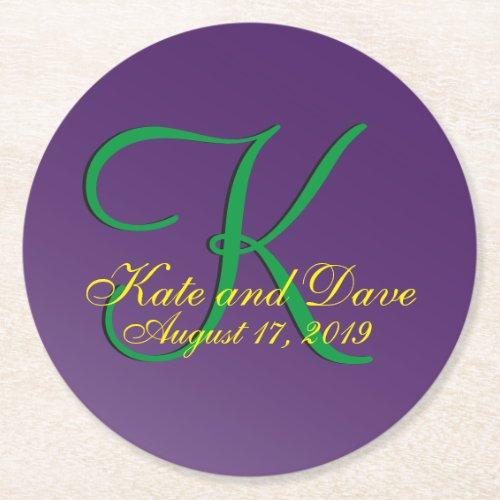 Typography Mauve 3d Monogram Purple Round Paper Coaster