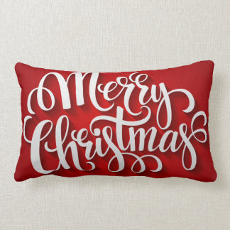 Typography Merry Christmas Holiday Pillow