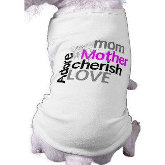 Typography Mom Cherish Purple Drip Flower Tee