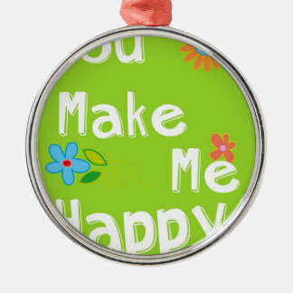 Typography Motivational Phrase - Lime Green Metal Ornament