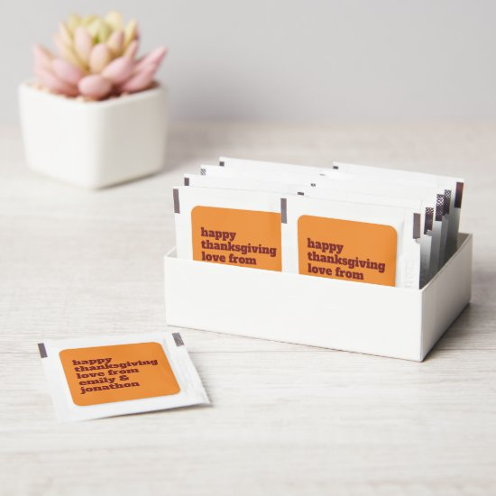 Typography Name Happy Thanksgiving Autumnal Favors Hand Sanitizer Packet